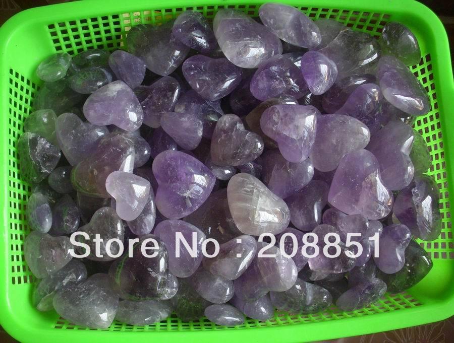 1 كيلوجرام 2.2LB الجمشت الطبيعي الكوارتز الكريستال قلوب منحوتة بالجملة الأسعار ، شحن مجاني-في الأحجار من المنزل والحديقة على  مجموعة 1