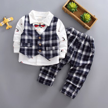 Baby boys Clothes Sets Spring Autumn Long Sleeve Cotton Vest +shirt + pants 3pcs Sport Suit for Kids 3 4 5 Years children outfit 2017 spring newborn baby boy clothes bow lie kids suit clothing sets 3pcs children bebe solid cloth outfit sport coats boys