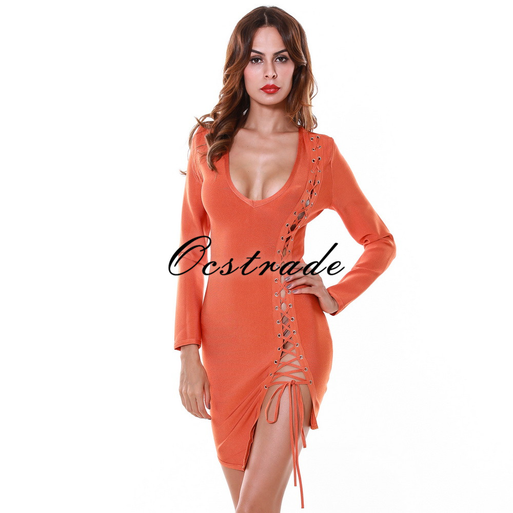 2016 Fashion New Arrival Women Tan Lace-up and Deep-v neck Autumn Winter Long Sleeve Bandage Dress HL Wholesale sanctuary new tan long sleeve lace inset tee xs $49 dbfl