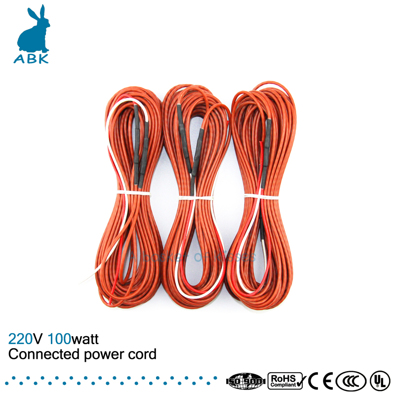12K 15meters 100W 33ohm carbon fiber heating wire Heating cable Connected power cord Low cost silicone rubber heating wire 12k20m 73w 33ohm hydrogen rubber carbon fiber heating wire safety and environmental protection the hot wire temperature floor