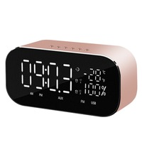 Mini Portable Bluetooth Speaker Temperature LCD Display FM Radio USB Alarm Clock Wireless Stereo Subwoofer Music Player Radio
