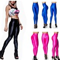 2017 New Women Skinny Disco Pants Neon Candy Color High Waist Plus Size Workout American Pencil Pants Lady Spring Leggings C0128
