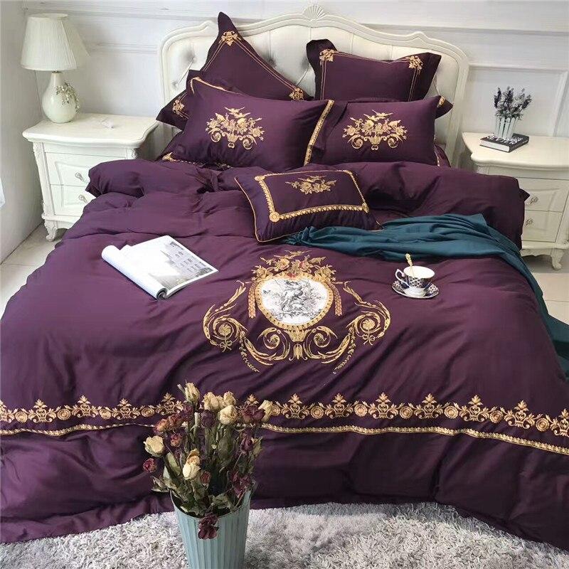 Purple Egyptian Cotton Luxury Royal Bedding set Gold Embroidered Queen King Size Duvet Cover Bed linen set Decorative PillowcasePurple Egyptian Cotton Luxury Royal Bedding set Gold Embroidered Queen King Size Duvet Cover Bed linen set Decorative Pillowcase