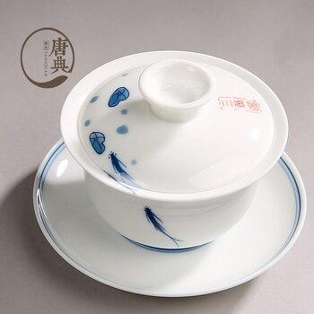 Jingdezhen Sancai Gaiwan ขนาดใหญ่สีฟ้าสีขาวและสีขาว Porcelain Tureen เซรามิคชากรองชา Retro ถ้วย C