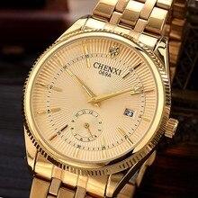 Watches Men CHENXI Brand Calendar Gold Quartz Clock Luxury Hot Selling Wristwatch Golden Male Rhinestone Watch Relogio Masculino