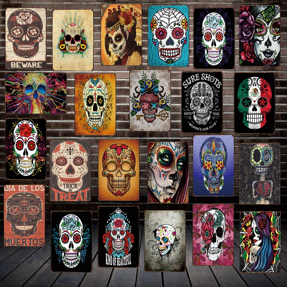 [ Mike86 ] Sugar Skull Mexican Style Metal Tin SIGN Tattoo parlors Shop decor Party Vintage Poster Antique Iron Painting FG-207