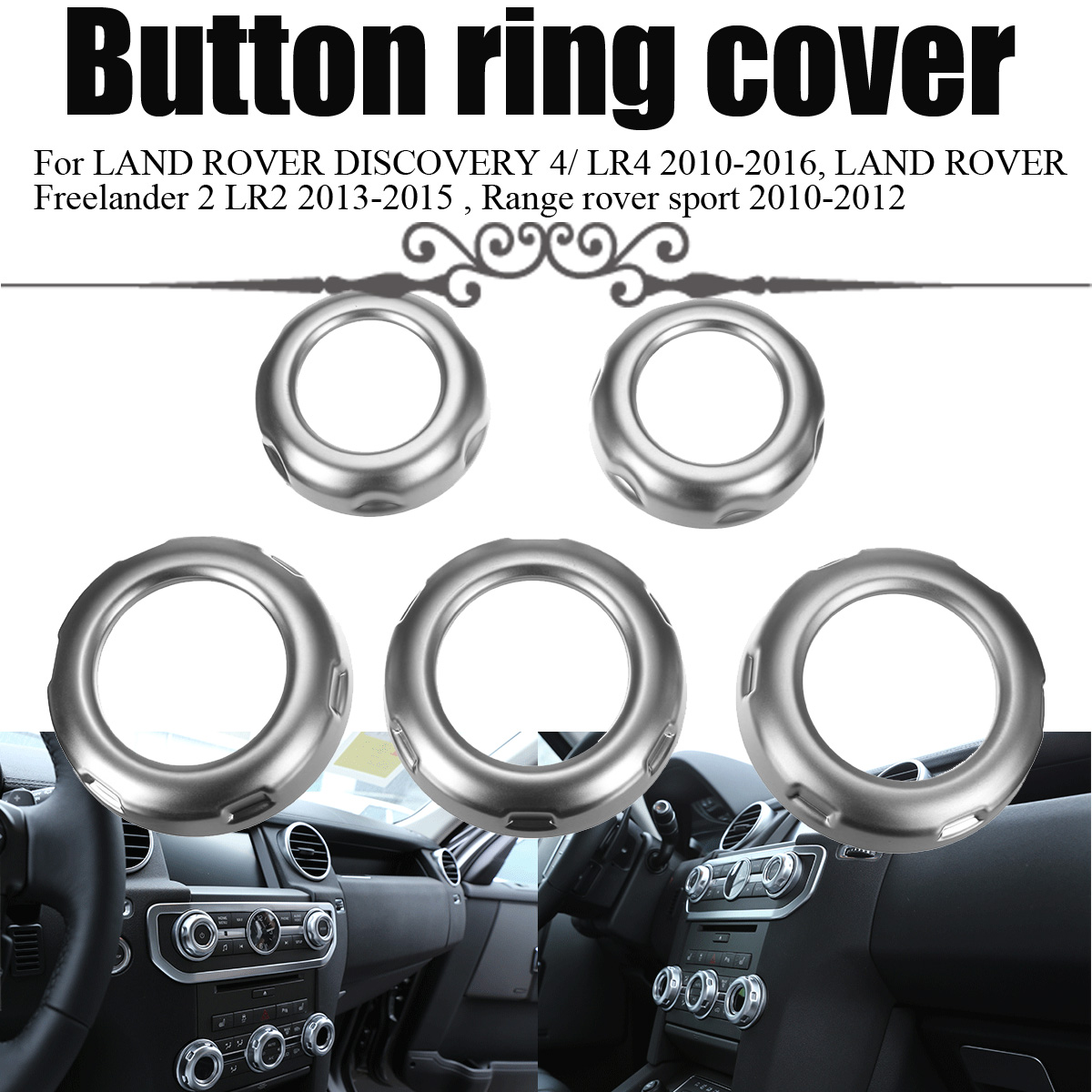 5Pcs Car Dashboard Console Switch Button Ring Cover Trim Auto Styling Chrome for Land Rover Discovery 4 Range Rover Sport newest for land rover range rover evoque abs center console gear panel chrome decorative cover trim car styling 2012 2017