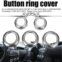 5Pcs Car Dashboard Console Switch Button Ring Cover Trim Auto Styling Chrome for Land Rover Discovery 4 Range Rover Sport