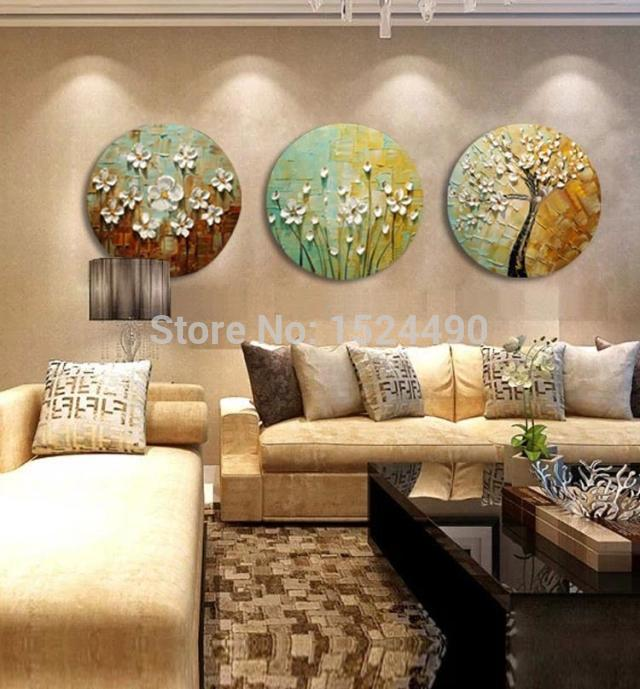 Round painting 3pcs set 100 handpainted white flowers modern knife oil paintings on canvas wall art for living room framed in painting calligraphy from