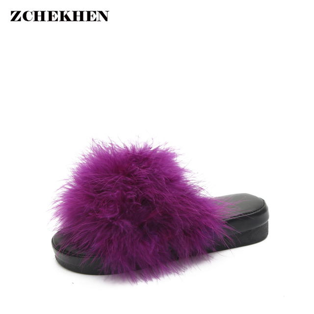 Indoor Furry Eté De Barrettes Fox Femmes Pantoufles Fourrure Hiver Femelles CS8Hx