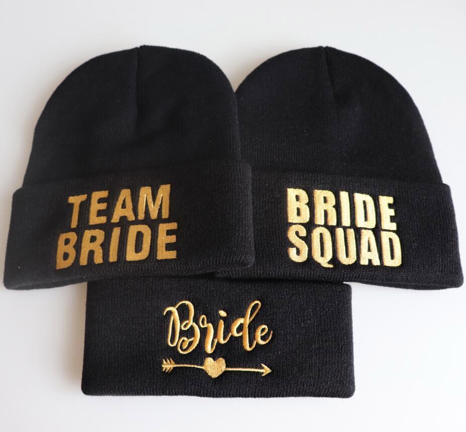 BRIDE TEAM SQUAD autumn MEOW Cap Men Women Casual Hip Hop Hats Knitted   Skullies     Beanies   Hat Warm Winter Hat For Women   Beanie