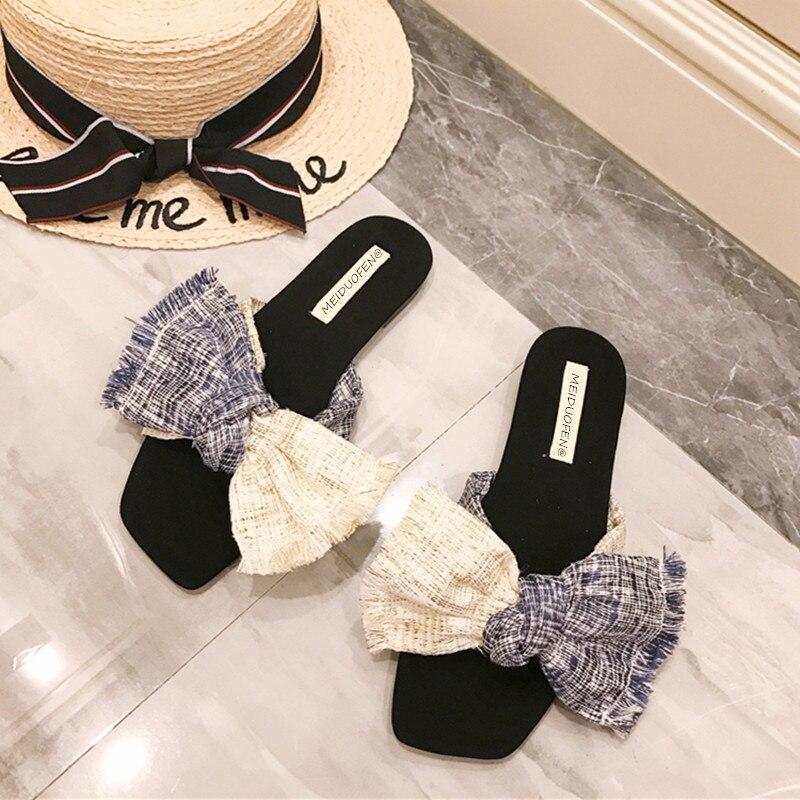 Бренд Для женщин Бабочка-узел плоские тапочки домашние шлепанцы на платформе женская обувь слипоны Босоножки на каблуках Для женщин пляжна...