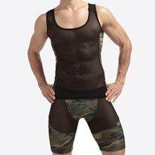 1 sets Mesh Sexy Men Tank Tops Transparent vest Singlet Undershirts Gay Exotic sheer Nylon Camouflage Underwear Lingerie Set
