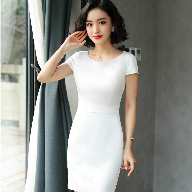 a4170d64783a10c Новинка белый визуальное уменьшение бедер женское летнее платье OL стили  для женщин Бизнес Рабочая одежда Платья