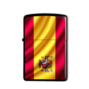 Image 4 - Gasoline Flint Lighter Metal Kerosene Oil Lighter Refillable Frosted Flag Series