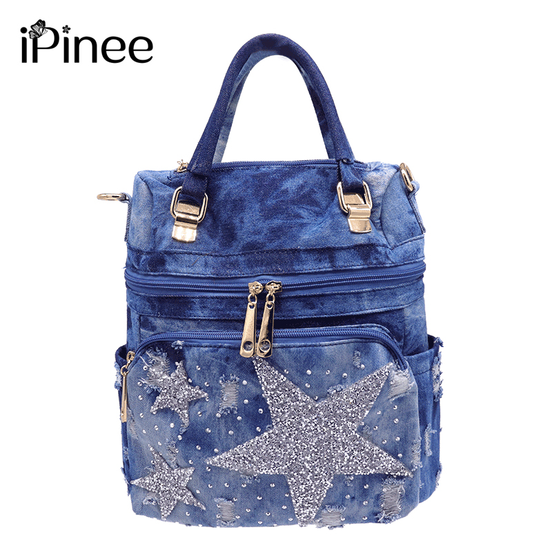 iPinee backpack women washed denim backpack school bags for girls teenagers for books five pointed star