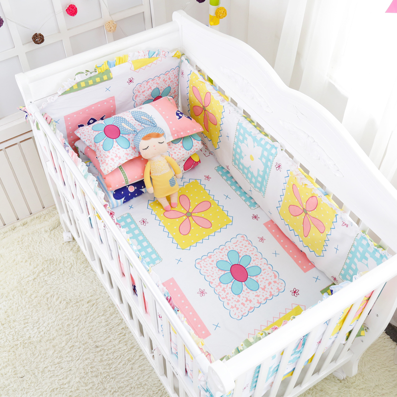 8 pcs/set Color Flower Crib Bed Linens Kit  Baby Cotton Bedding Set Include Cot Bumpers Bed Sheet Quilt with Filling Pillowcase 7 pcs fresh blue sea world baby crib bedding set summer baby cot linens nursing mesh bumpers cotton sheet quilt pillow filler
