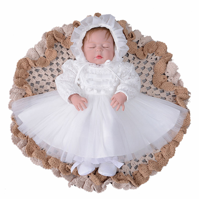 26ee0249b44 Newborn Baby Girl Dress White Color Long Sleeve Lace Baptism Clothing 1st  Birthday Party Christening Gown Costume with Hat 2018