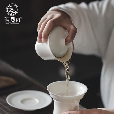 Thé en porcelaine blanche Dehua Tureen thé blanc Jade fait à la main Kung FuPu'er thé vert Oolong trois bols Teaware livraison gratuite - 5