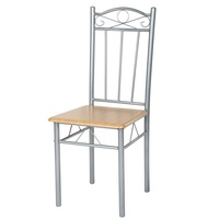 ANCHEER 4pcs Set Dining Chair Metal Cafe Chair Seat Bistro Composition Of Aluminum Alloy Wood Plywood