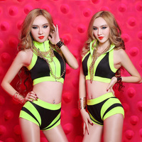 Fashion ds costume Sexy dj twirled service Neon Color jazz dance Set