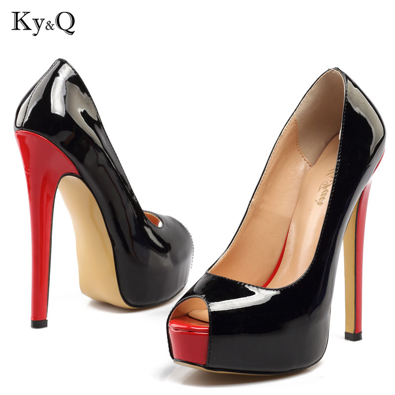Summer Sexy New Black Peep Toe platform Pump Women 2018 Fashion Shallow High Heel Shoes Female Party Red Sandals Plus Size 34-46 plus big size 40 50 brand new sexy red peep toe planting thin high heel pumps fashion women party wedding sandals free shipping