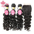 Queen Hair Products 3 Bundles Peruvian Virgin More Wavy Human Hair with Closure, 8A Peruvian Virgin Hair with Closure Free DHL