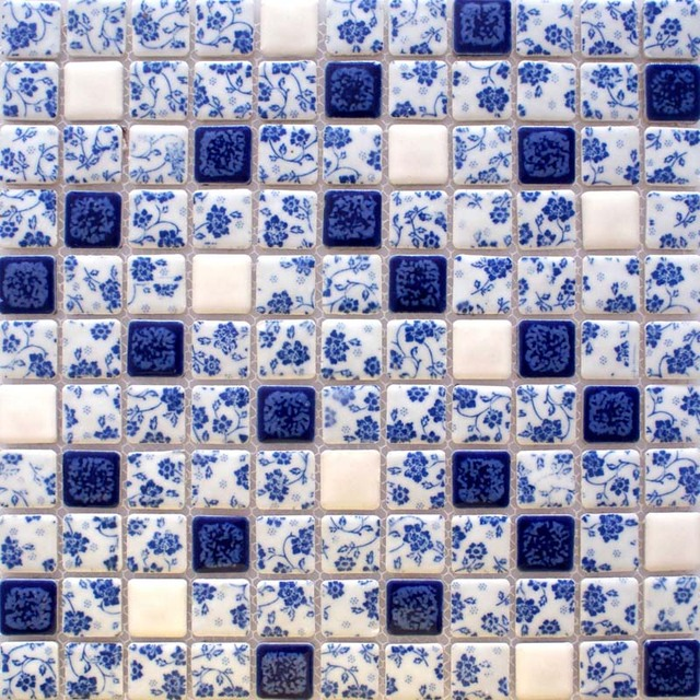 glazed porcelain tile backsplash ADT33 blue and white porcelain ceramic mosaic kitchen bar table wall stickers bathroom tiles