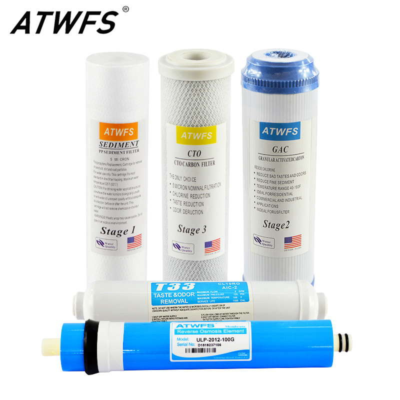 ATWFS Osmosis Water Filter Cartridge ulp 2012 100 gpd ro Membrane Water Purifier for Household System