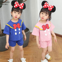 Baby Mickey Mouse T-Shirt + Shorts Sets Girls Bow Sport Suits Children cotton summer Sets Kids clothes 2-6Y(China)