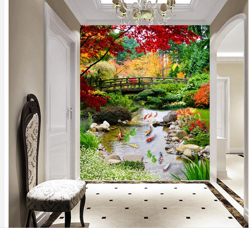 ФОТО 3d nature wallpapers Home Decoration Landscape fish background wall mural painting photo mural wallpaper
