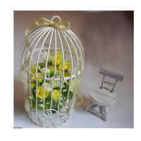 1pc Fashion Wrought Iron Bird Cage Home Decoration White Wendding Birdcage Hanging Birdbrains House Decoration for New Year