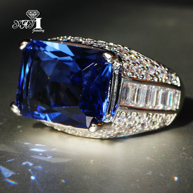 YaYI Jewelry Fashion Princess Cut Huge 7.6 CT Blue Zircon Silver Color Engagemen