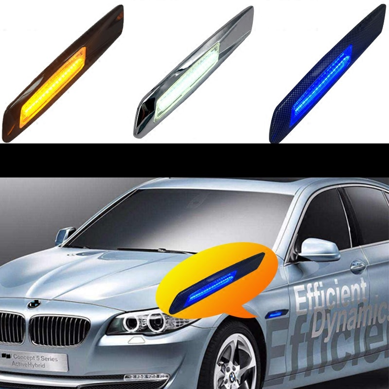 eOsuns led side turn signal fender light For BMW e90 e60, plug & play, no warn & no error, style 5 eosuns led side turn signal reflector
