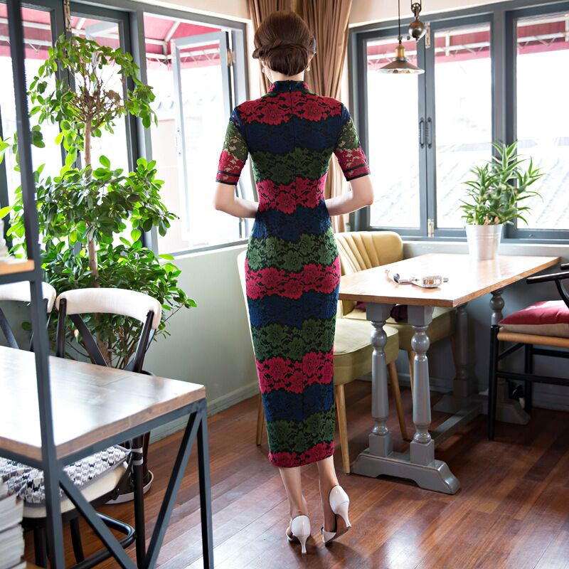 Elegant Chinese Women Lace Cheongsam Hot Sale Traditional Style Long Qipao Dress Vestido Clothing Size S M L XL XXL XXXL 342586