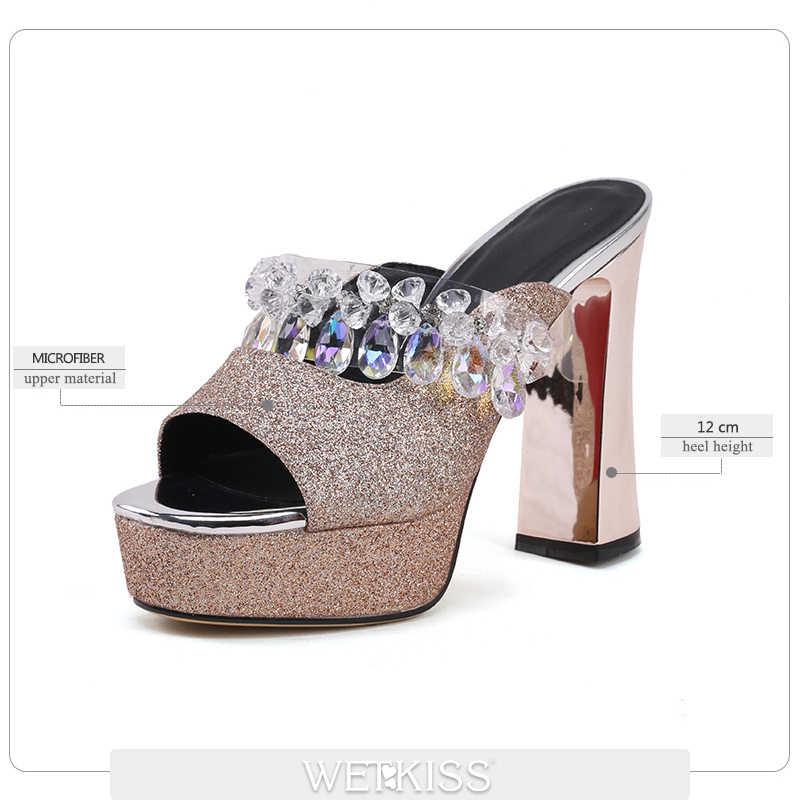 BEIJO Molhado chinelos De Lantejoulas Mulheres Peep Toe Calçados sapatos De Plataforma feminino sapatos De Salto Alto Mulas Lâminas De Cristal Que Bling sapatos De Verão mulher