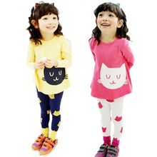 Kids Girl Long Sleeve Clothes Set Set child Outfits Dress T-Shirt+Pants For Baby 2-7Y