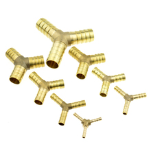 Brass Splicer Pipe Fitting Y Shape 3 Way Hose Barb 4mm 6mm 8mm 10mm 12mm 16mm Copper Barbed Connector Joint Coupler Adapter