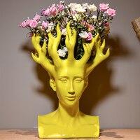 2016 New Design Creative Handmade Resin Human Head Flower Vase Modern Home Decoration Ornaments Unique Shape
