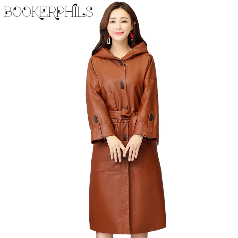 Elegant Women PU Leather Jacket Winter Autumn Waistband Plus Size 4XL Long Soft Leather Coats Hooded