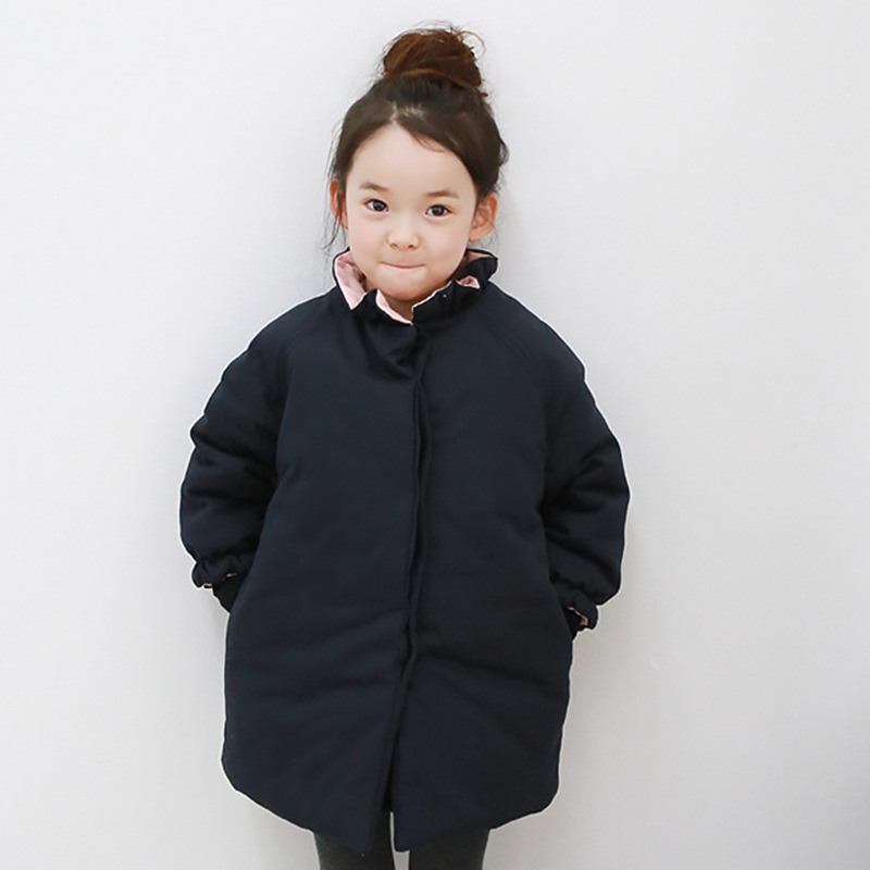 Children's Clothing Girls Cotton Down Coat 2018 New Autumn Winter Long Coat Thick Warm Cotton Large Size Girls Jacket Coat 10 12 qimage 2017 ladies coat new winter women short parka female thick warm cotton down coat women retro women jacket coat plus size