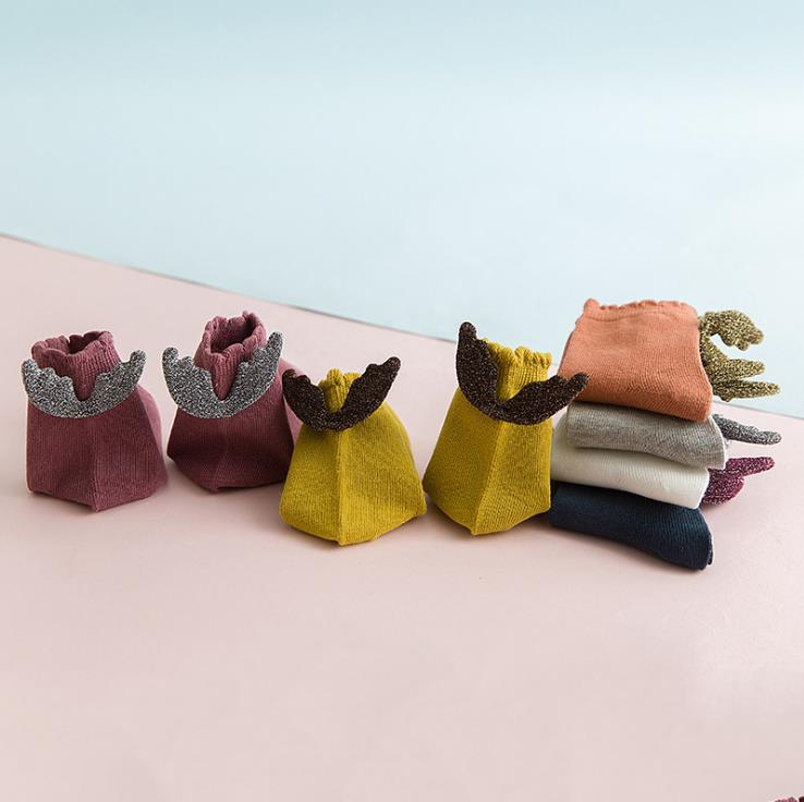 1 Pair Baby Socks For Girls Cute Angle Wings Socks Unisex Toddlers Cotton Socks 1 2 3 4 5 6 7 8 Years