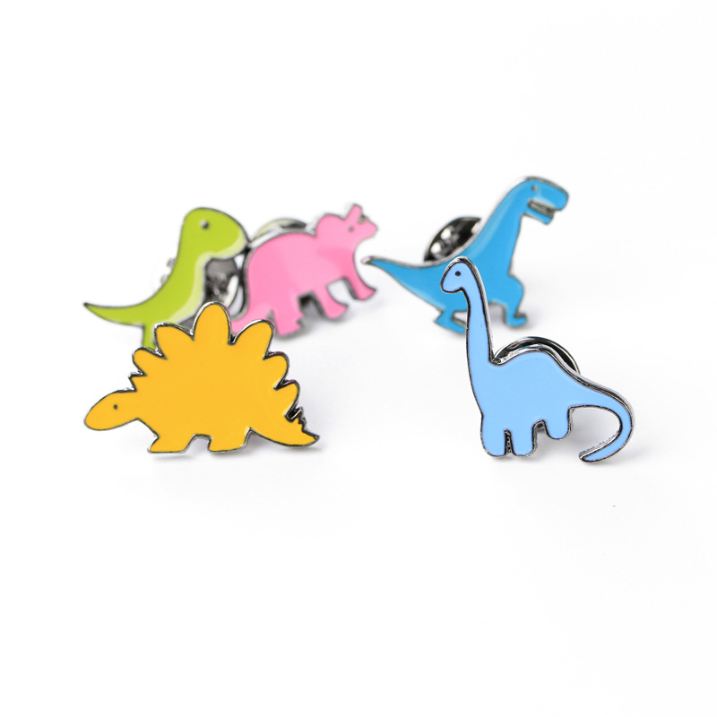 5 Kinds Dinosaurs Brooch Pin Set Women Mens Brooches and Pins For Clothes Cute Novelty Metal Badges Jewelry On The Collar