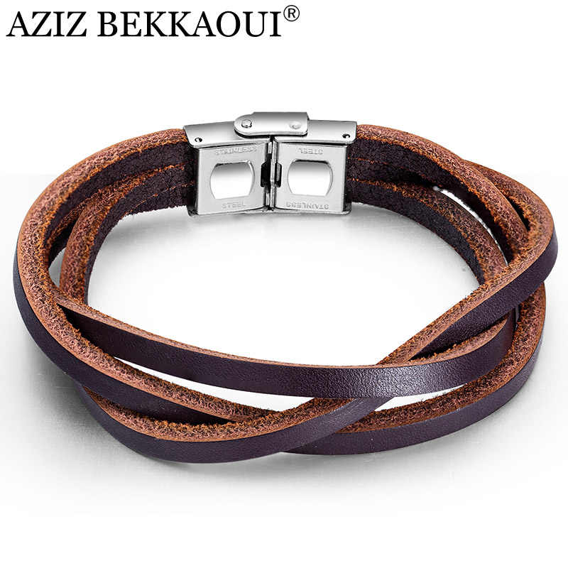 AZIZ BEKKAOUI Punk Brown Leather Bracelets for Men Multi-layer Stainless Steel Bracelet Rope Bangle Cool Male Jewelry Dropship