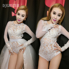 DJGRSTER New 2017 Hot Lady Women lace perspective Sexy Nightclub Leopard Singer Jazz Hip Hop Dance Costumes Beyonce Bodysuit