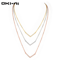 OKI NI High Quality 925 Sterling Silver Choker Necklaces Luxury Jewelry Multi Layer Necklace Engagement Gift