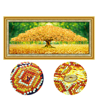 5D diy round diamond painting money tree cross stitch kits Chinese special shaped home decoration rhinestones Mosaic Embroidery