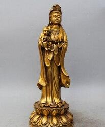 """17 """"Stary Chiński Spiżowy Pozłacany Stojak kwan yin Guan Yin Posąg Bogini Przynieść Syna w Posągi i rzeźby od Dom i ogród na"""