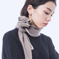 100% goat cashmere knit women fashion ring scarf rabbit ear style patchwork color sides 140x45cm