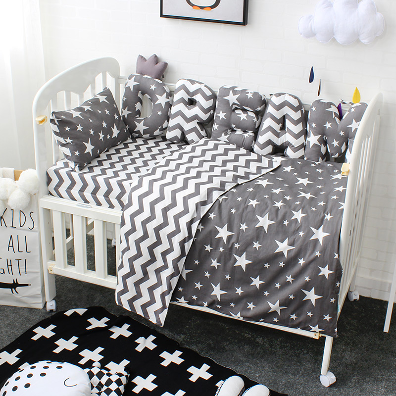 Baby Bedding Set Custom Letter Bumper Baby Cushion Pillow Baby Room Decoration Pure Cotton Children Crib Kit Bed Set For Kids